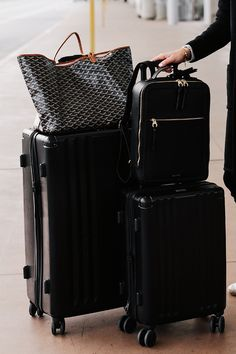 Calpak Black Luggage Set Calpak Black Backpack Goyard Tote Airport Style One of the t Goyard Luggage, Calpak Luggage, Goyard Tote, Cute Luggage, Best Carry On Luggage, Luggage Sets, Travel Luggage, Travel Bags, Airport Luggage