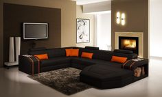 VGEV5038-Divani Casa 5038 Modern Black and Orange Bonded Leather Sectional SofaFinishing: Black and Orange Bonded LeatherDimensions:3 Seater: W72