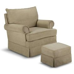 Thomasville Kids Grand Royale Upholstered Swivel Glider and Ottoman Light Chocolate, Brown