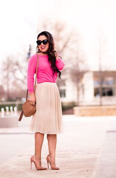 cute & little   petite fashion blog   pink tippi sweater, leith ivory pleated skirt, louboutin so kate nude patent pumps, sugarfix choker, baublebar coral drops, gucci disco bag   spring outfit