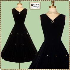 ANNE FOGARTY Vintage 50s Black Velvet Pearl PINUP Party Cocktail Dress S