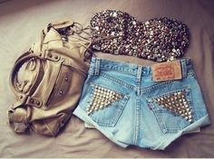 i love all of it. #DIY high-waisted jean shorts with studded back pockets, and a bedazzled balconette bra!