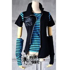 I found 'Black and Blue Stripe Cyber Goth Punk Emo Clothes Jackets SKU-11401102' on Wish, check it out!