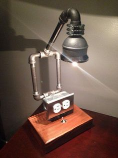Rustic and Industrial Pipe Lamp. Perfect for the office nightstand or end table. Industrial Design Furniture, Pipe Furniture, Luxury Furniture, Office Furniture, Pipe Lighting, Cool Lighting, Industrial Pipe, Industrial Lighting, Steampunk Lamp