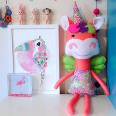 Liberty Unicorn Softie via Rhapsody and Thread on Etsy / Handmade in Australia / Custom colours / Pattern by Dolls and Daydreams #unicornsoftie #unicorndoll #skylaunicorn #libertyprint #gardenwonderland #floral #girlstoy #moderndoll #handmadedoll #rhapsodyandthread