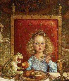 The Frog Prince - Scott Gustafson. I really like all of Gustafson's fairy tale work, but the look on this Princess is priceless. Alphonse Mucha, Fantasy Kunst, Fantasy Art, Motifs Animal, Classic Fairy Tales, Fairytale Art, Fairy Land, Children's Book Illustration, Book Illustrations