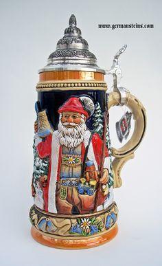 King Werk: Alpine Santa and Silent Night Chapel Beer Stein German Beer Mug, German Beer Steins, German Christmas Pyramid, Christmas Beer, Christmas Ornaments, Beer Mugs, Silent Night, Beer Lovers, Germany