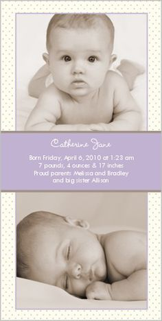 Swiss Dots Lilac Birth Announcement