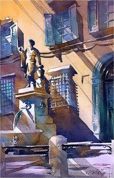 Piazza San Salvatore - Lucca. Thomas W Schaller. Watercolor - 11 June 2017.