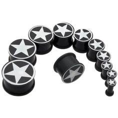 Pair White Star on Black Flesh Saddle Ear Plugs 3/4Gauges, 19mm