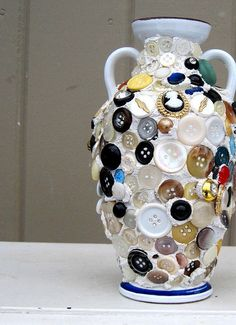 Image detail for -Vintage Mosaic Button Vase - Eclectic Unique Boho Holiday Gift for Her Mosaic Pots, Mosaic Diy, Button Art, Button Crafts, Mosaic Designs, Love Craft, Jewel Box, Cute Crafts, Holiday Gifts