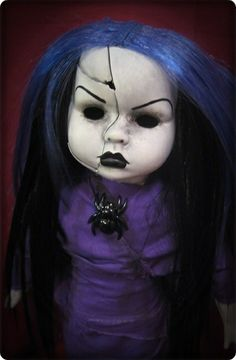 Creepy Doll in purple with Black Blue Hair Cracks Necklace Custom porcelain