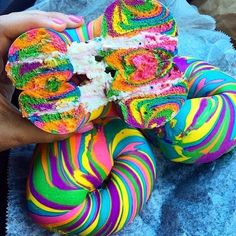 """130.3k Likes, 4,331 Comments - Love Food (@love_food) on Instagram: """"Rainbow Bagels😍🌈 Tag your friends👇🏼 📷: @bri_cucinelli"""""""