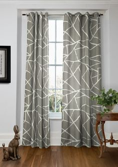 Moderne Ulysses - Geometric curtains in subtle natural hue made from cotton. Geometric Curtains, Bedroom Decor, Bedroom Curtains, Bedroom Ideas, Made To Measure Curtains, Kitchen Curtains, Home Reno, Home Decor Furniture, Window Treatments