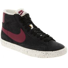 Nike Blazer Mid Suede High Top Trainers (81 CAD) ❤ liked on Polyvore featuring shoes, sneakers, nike, baskets, cushioned shoes, high top sneakers, suede high top sneakers, nike trainers and nike footwear
