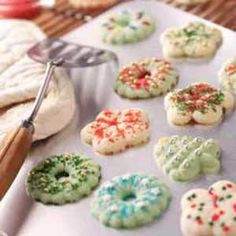 Buttery Spritz Cookies Recipe - I can't wait to make these! My favorite Christmas cookies to make! :-)