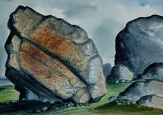 David Blackwood watercolour, Glacier Erractic Tempelman #1, 1981, 11 X 18 inches