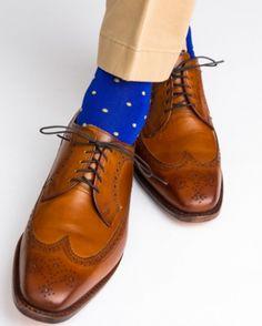 Dapper Classics Clematis Blue with Yolk Polka-Dot Linked Toe Sock