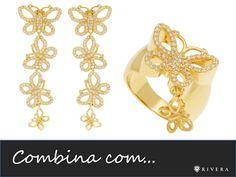 Brincos e anel de borboletas folheados a ouro cravejados com zircônias. Para comprar acesse: www.riverajoias.com.br