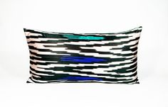 Silk Ikat Pillow  1960's Satin Black White by MaterialRecovery, $108.00