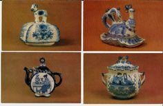 Gzhel Ware Gzhel-russian folk ceramics  The Russian Museum, Leningrad  Vintage Russian USSR Postcards - set of 16