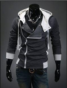Punk Rock Men's Splice Slim Fit Heap Collar Knitwear Hoodie Hoody - Hoodies