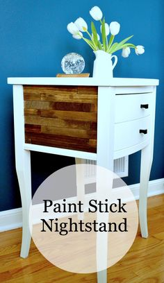 A nightstand redo using paintsticks