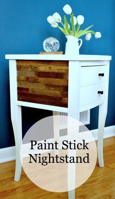 A nightstand redo using paintsticks