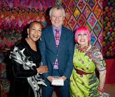Kaffe Fassett with Marsha Hunt and Zandra Rhodes at his latest exhibition - Kaffe Fasset - a Life in Colour - 50 years of textile art at the Fashion & Textile Museum, London 2013