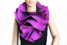 Ultra violet Long ruffle hand felted scarf Jabot Neck warmer Plum Purple Lilac Made to order