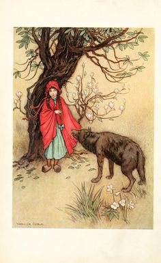 red riding hood Warwick Goble, Art And Illustration, Book Illustrations, Wolf Canvas, Canvas Art, Charles Perrault, Red Ridding Hood, Edmund Dulac, Classic Fairy Tales