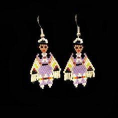 Zuni Beaded Shawl Dancer by Todd Poncho Native American Beadwork Beaded Earrings Native, Beaded Earrings Patterns, Earrings Handmade, Beading Patterns, Beading Ideas, Mosaic Patterns, Beading Tutorials, Bracelet Patterns, Indian Beadwork