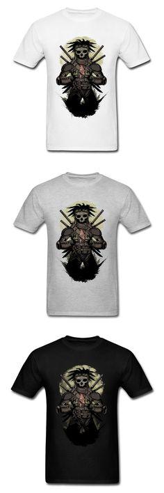 Gentle Samurai Skull Butterfly Printed Male Summer T-shirt Black Short Sleeve Retro Style Tops Tees Men's Presents