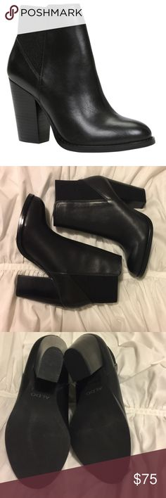 Aldo Elidia Black Leather Ankle Chelsea Boots New Aldo Elidia Black Genuine Leather Ankle Chelsea Boots. Original box included Aldo Shoes Ankle Boots & Booties