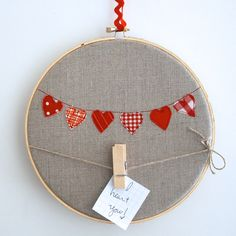 Embroidery hoop hearts