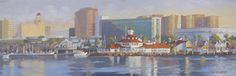 """""""Long Beach Skyline"""" by John White. This 8"""" x 24"""" oil painting was painted from the water looking over the great shoreline of Long Beach with the iconic Parker's Lighthouse and downtown."""