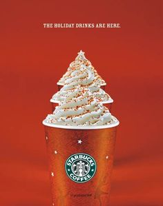 Starbucks creates a warm and soothing feeling with this ad with the tinted red background. Starbucks also breaks through the clutter by arranging their drinks in a way that the whipped cream creates a christmas tree to exemplify the holidays. This ad targets anyone who drinks coffee and enjoys relaxing and chatting with friends in a comfortable environment. I felt that this was persuasive because Starbucks creates an inviting atmosphere and shows off their holiday drinks with creativity.