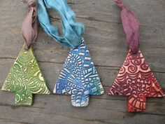 Rustic Polymer Clay Holiday Ornaments With Sari by SpontaneousSoul