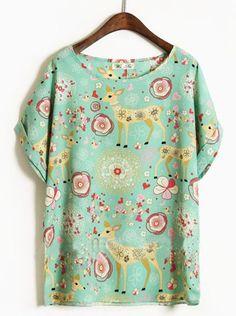 Green Round Neck Short Sleeve Deer Print Loose Chiffon T-Shirt