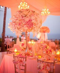 Wedding reception done in PEACH! Definitely loving the idea!