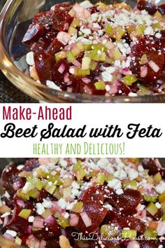 Healthy and flavorful Beet Salad with Feta is a make-ahead must! Don't miss this delicious side dish recipe that is so easy to make and great for parties, barbecues, or brunch. Beet Recipes, Easy Salad Recipes, Easy Salads, Easy Meals, Healthy Recipes, Recipies, Thanksgiving Dinner Recipes, Thanksgiving Side Dishes, Holiday Recipes
