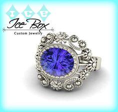 Cultured Kashmir Blue Sapphire 8 x 10mm, 3.3ct Cultured Oval Kashmir Blue Sapphire in a 14k White Gold Floral Milgrain Setting