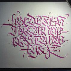 Fraktur alphabet. #calligraphy #caligrafia #typography #type #lettering #letter #fraktur #gothic #alphabet #red