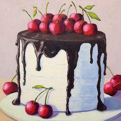 Chocolate Cherry Cake by Pat Doherty Oil ~ 18 Cake Drawing, Food Drawing, Chocolate Drawing, Desserts Drawing, Foto Pastel, Chocolate Cherry Cake, Dessert Illustration, Watercolor Cake, Cupcake Art