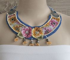 Items similar to ON SALE off, Elegant bib necklace. on Etsy Textile Jewelry, Fabric Jewelry, Boho Jewelry, Jewelry Crafts, Jewelery, Summer Necklace, Boho Necklace, Crochet Necklace, Necklaces