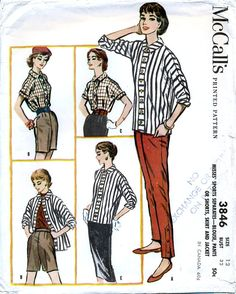 McCall's 3846 Vintage 50s Misses' Blouse Pants or от retrowithlana