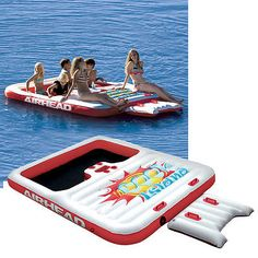 AIRHEAD AHCI-1 Cool Island Inflatable 6 Person Floating Platform Tube Deck