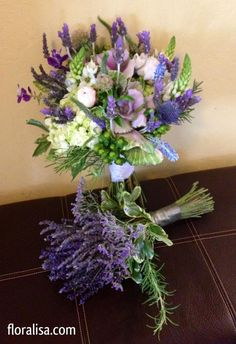 Fragrant lavender bouquet and herbal bridal bouquet with kale, lavender and rosemary with berries and hydrangea. By floralisa.com