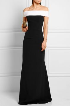 Roland Mouret | Lamble off-the-shoulder stretch-crepe gown | NET-A-PORTER.COM