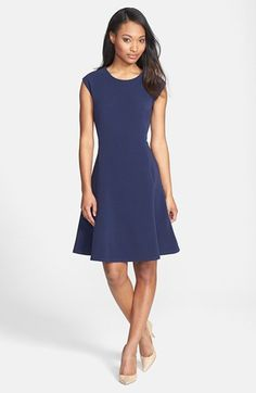 Free shipping and returns on Halogen® Ottoman Knit Fit & Flare Dress (Regular & Petite) at Nordstrom.com. A finely textured ottoman knit shapes a polished dress in a flattering silhouette that follows your curves to the hips then flares into a flirty paneled skirt. A jewel neck tops the style, perfect for customizing with your favorite accessories.